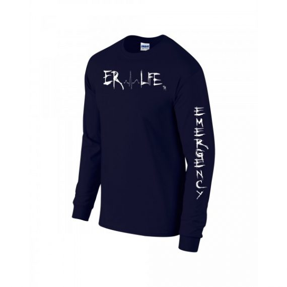 ER Life Long Sleeve Navy Shirt Side View
